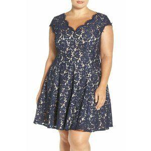 Eliza J Women Plus Blue Lace Fit & Flare Dress 18W